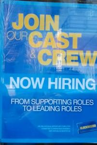 Blockbuster now hiring sign