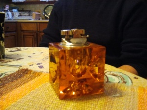 Amber Glass Table Top Lighter
