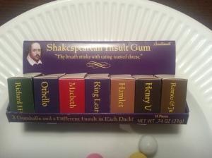 Shakespere Insult Gum, Front